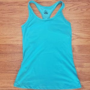 Nike Dry Fit tank built in bra Small Turquoise